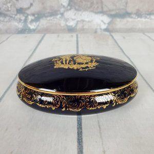 Vintage Limoges Castell Trinket Jewelry Box Cobalt